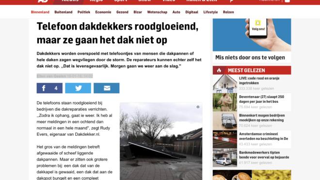 AD.NL Telefoon dakdekkers roodgloeiend, maar ze gaan het dak niet op